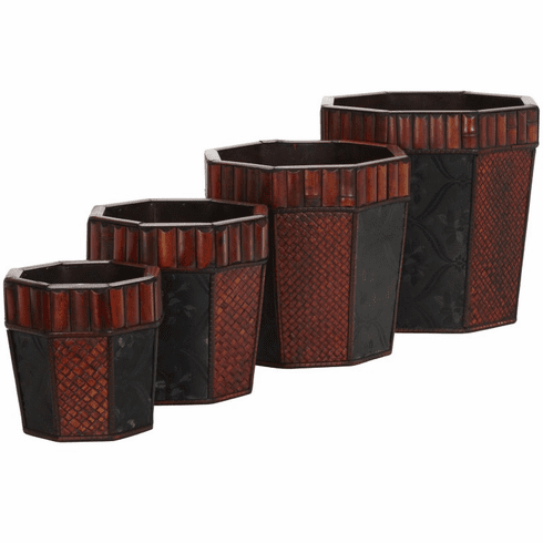 "8""-14"" Bamboo Octagon Decorative Planters-Set 4"