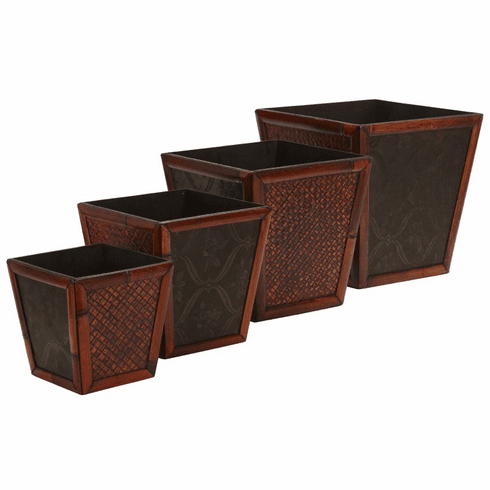 "8""-14"" Bamboo Square Decorative Planters-Set  4"