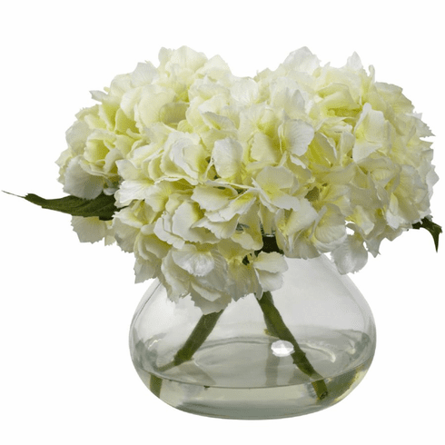 "8.5"" Blooming Hydrangea with Vase - Cream"