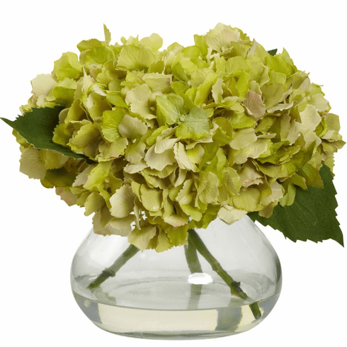 "8.5"" Blooming Hydrangea with Vase - Green"