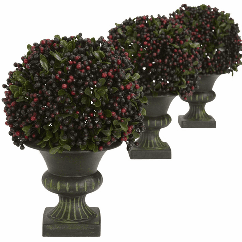 """8.5"""" Plastic Pepper Berry Ball Topiary (Set of 3)"""