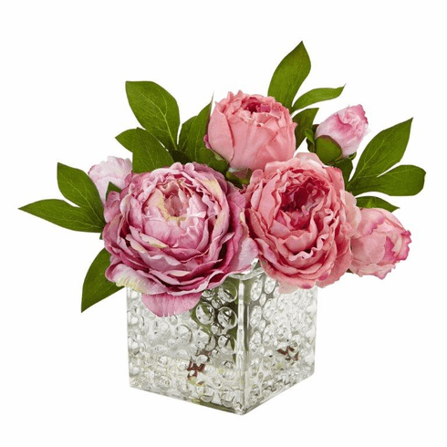 "8.5"" Silk Peony Flowers in Glass Vase"