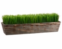 """Set of 2 - 8"""" Artficial Grass Ledge Plant in Wood Planter"""