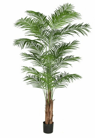 8' Artificial Areca Palm Tree Potted in Weighted Plastic Container