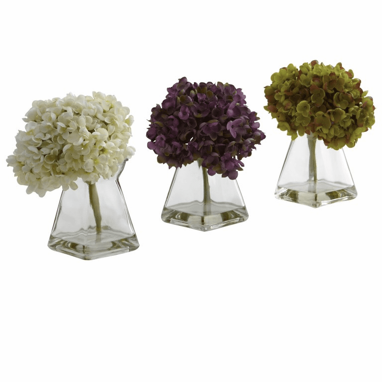 "8"" Artificial Flower Hydrangea with Vase (Set of 3)"