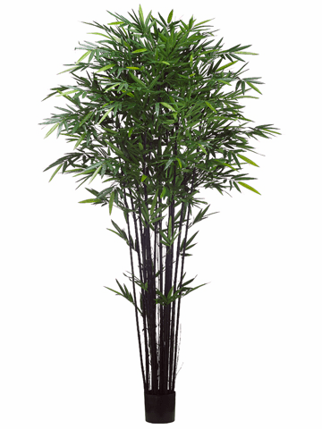 8' Artificial Tropical Black Bamboo Tree w/2240 Leaves in Pot Green - Set of 2