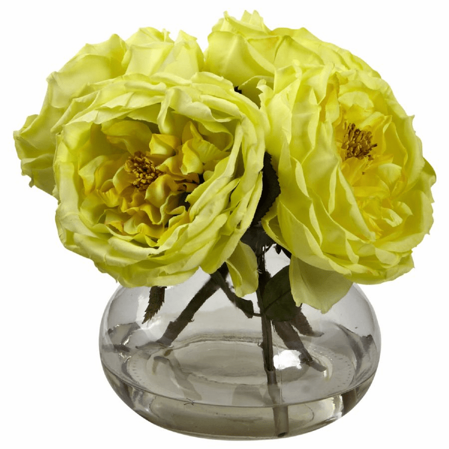 "8"" Fancy Silk Rose Arrangement in Vase - Yellow"