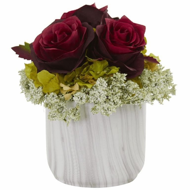 "8"" Rose and Hydrangea Artificial Arrangement in Marble Finished Vase - Beauty"
