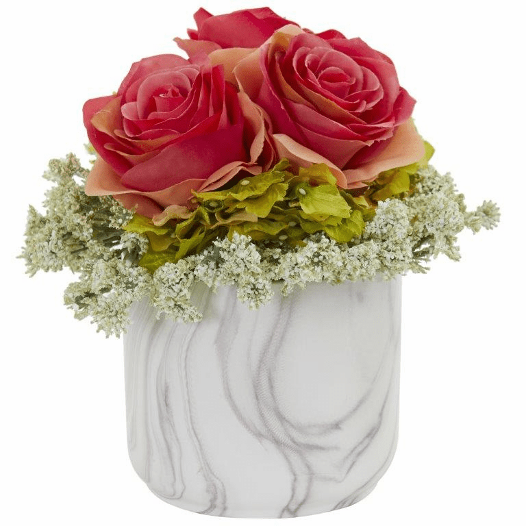 "8"" Rose and Hydrangea Artificial Arrangement in Marble Finished Vase - Dark Pink"