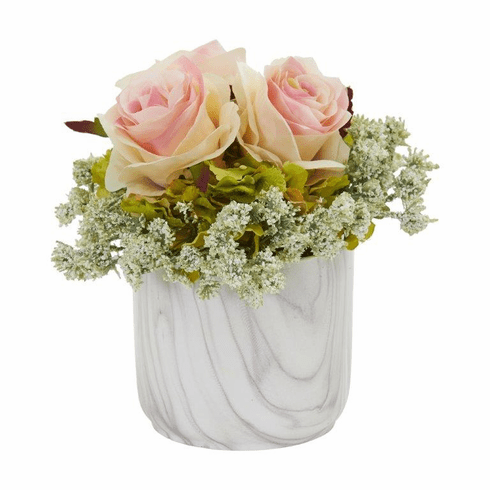"8"" Rose and Hydrangea Artificial Arrangement in Marble Finished Vase - Light Pink"