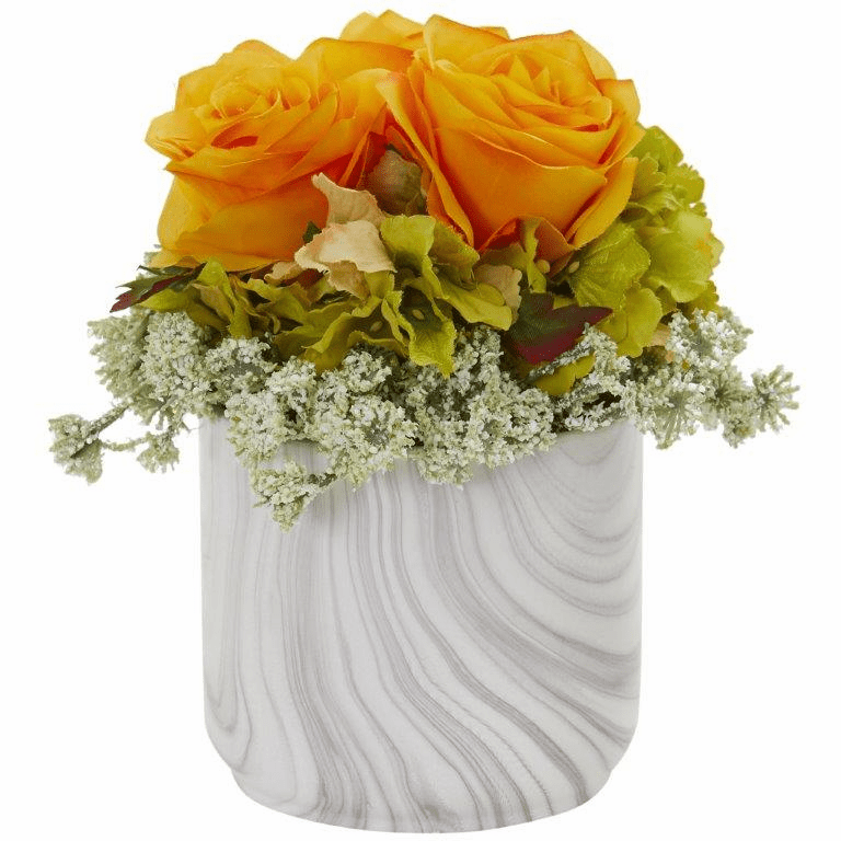 "8"" Rose and Hydrangea Artificial Arrangement in Marble Finished Vase - Orange Yellow"