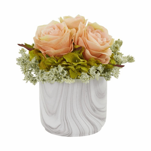"8"" Rose and Hydrangea Artificial Arrangement in Marble Finished Vase - Peach"