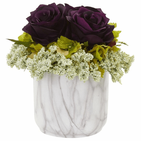 "8"" Rose and Hydrangea Artificial Arrangement in Marble Finished Vase - Purple Elegance"