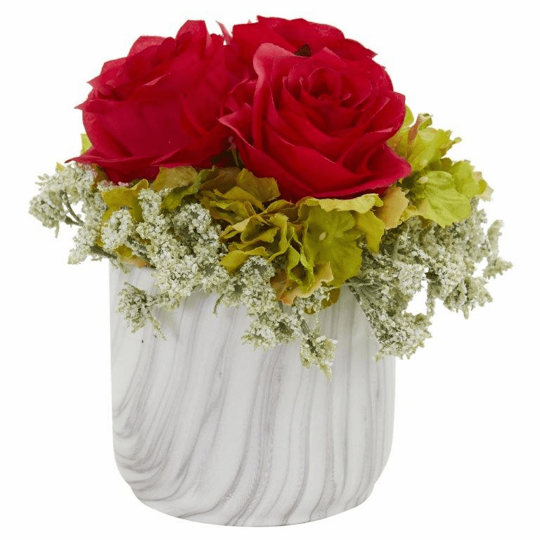 "8"" Rose and Hydrangea Artificial Arrangement in Marble Finished Vase - Red"