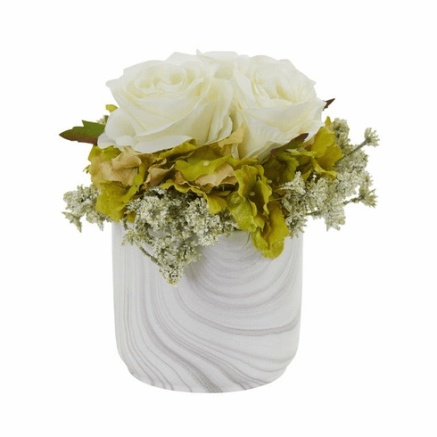 "8"" Rose and Hydrangea Artificial Arrangement in Marble Finished Vase - White"