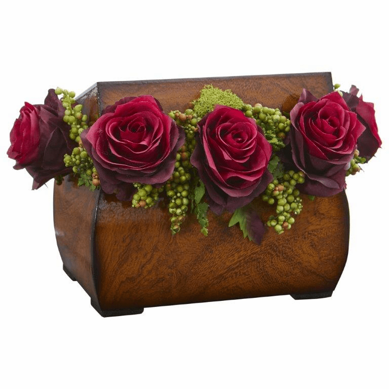 "8"" Roses Artificial Arrangement in Decorative Chest - Burgundy"