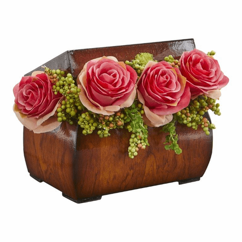 "8"" Roses Artificial Arrangement in Decorative Chest - Dark Pink"