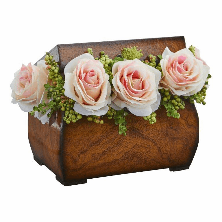 "8"" Roses Artificial Arrangement in Decorative Chest - Light Pink"