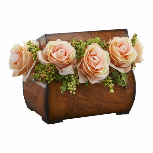 "8"" Roses Artificial Arrangement in Decorative Chest - Peach"