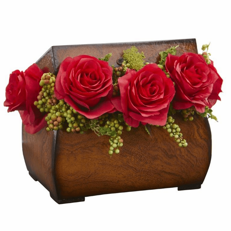 "8"" Roses Artificial Arrangement in Decorative Chest - Red"