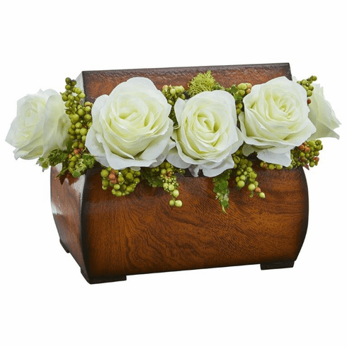 "8"" Roses Artificial Arrangement in Decorative Chest - White"