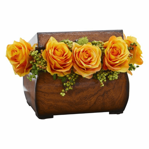 "8"" Roses Artificial Arrangement in Decorative Chest - Yellow"