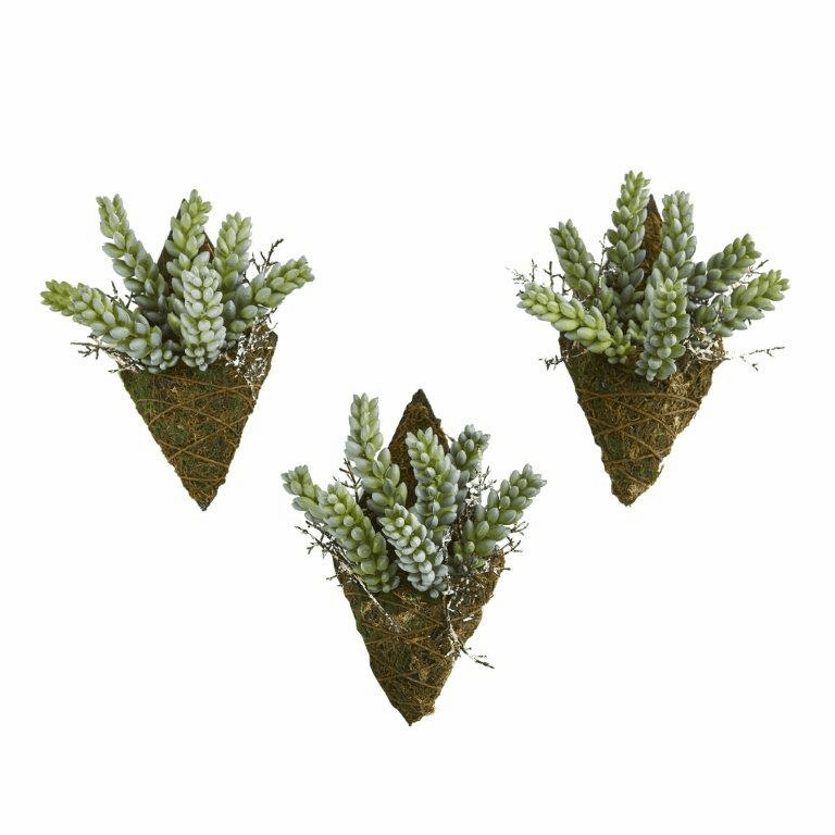 8� Sedum Succulent Artificial Wall Decor Plant (Set of 3)