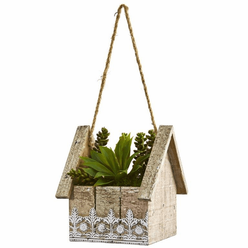 "8"" Succulent Garden Artificial Plant in Birdhouse Hanging Planter"