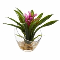 8�� Tropical Bromeliad in Angled Vase Artificial Arrangement - Purple