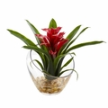 8'' Tropical Bromeliad in Angled Vase Artificial Arrangement - Red