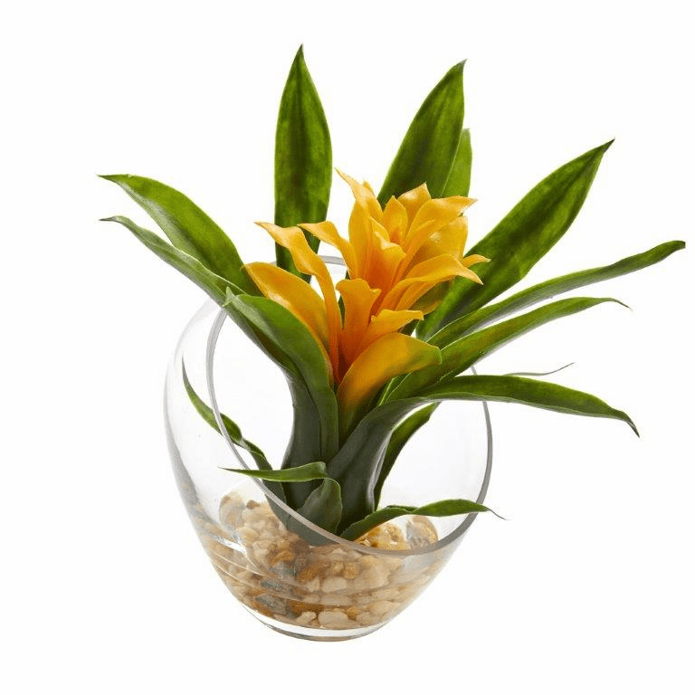 8�� Tropical Bromeliad in Angled Vase Artificial Arrangement - Yellow