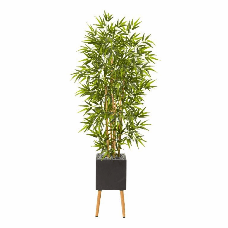 82� Bamboo Artificial Tree in Black Planter with Stand -