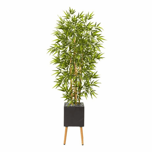 """82"""" Bamboo Artificial Tree in Black Planter with Stand -"""