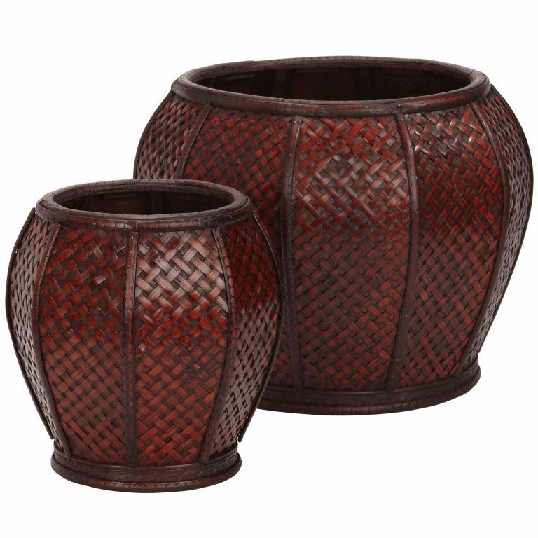 "9""-11"" Rounded Weave Decorative Planters-Set 2"