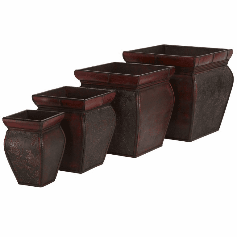 "9.5"" - 14"" Square Planters w/Rim (Set of 4)"