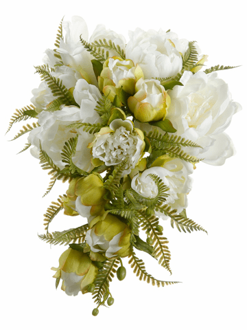 """9.5"""" Artificial Peony Silk Flower with Fern Cascading Wedding Bouquet - Set of 6 (Shown in White)"""