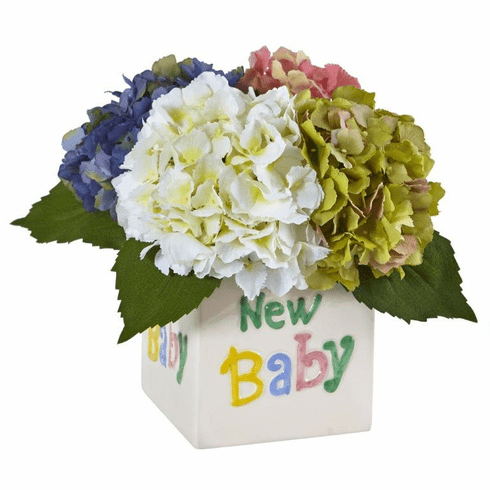 "9.5"" Silk Hydrangea Artificial Flower Arrangement in New Baby Ceramic - Assorted"