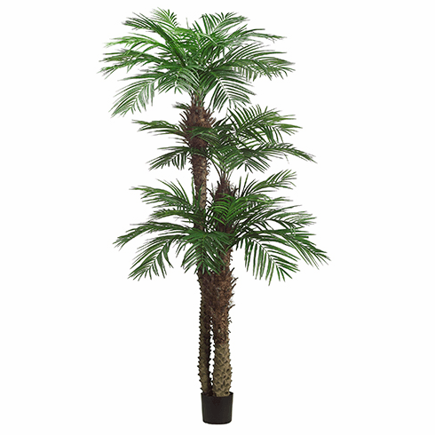 9'+7'+5' Artficial Tropical Areca Palm Large Tree x3 with 1364 Leaves in Pot - Set of 2