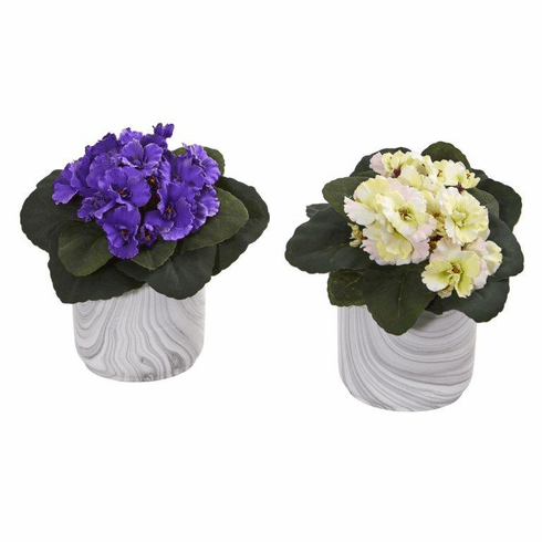 "9"" African Violet Artificial Plant in Marble Vase (Set of 2) - Assorted"
