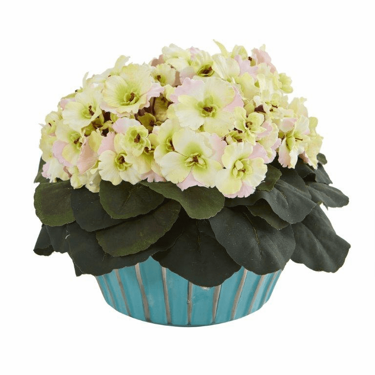 9� African Violet Artificial Plant in Turquoise Vase  - Cream Pink