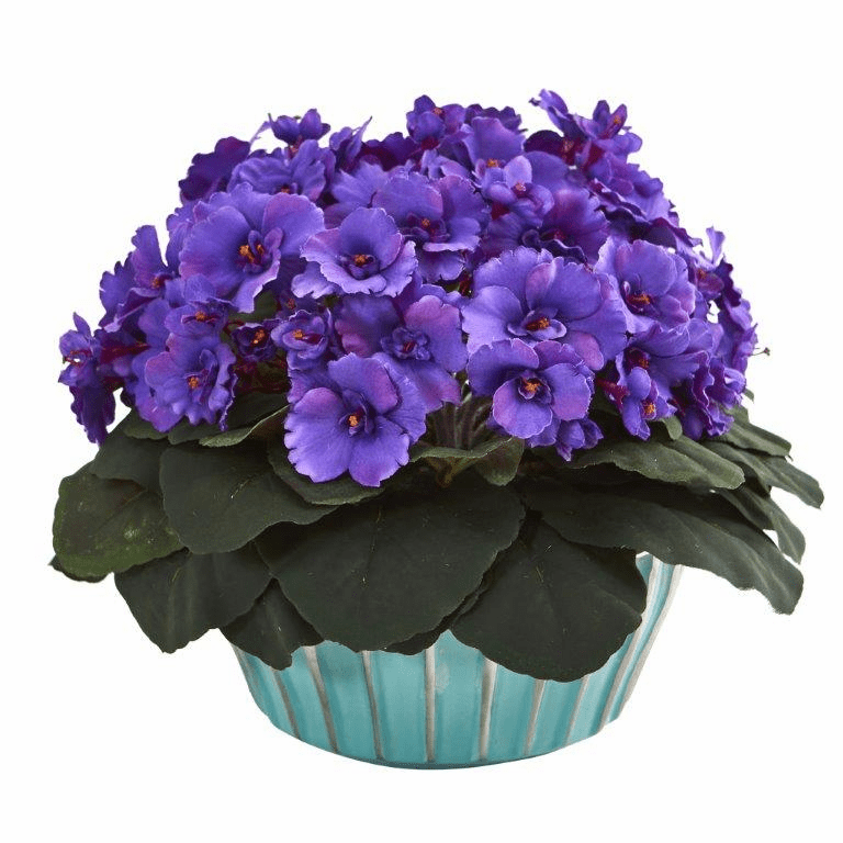 9� African Violet Artificial Plant in Turquoise Vase  - Purple