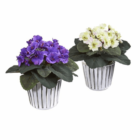 "9"" African Violet Artificial Plant in White Vase (Set of 2)"