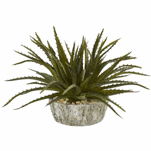 "9"" Aloe Succulent Artificial Plant in Weathered Oak Planter"