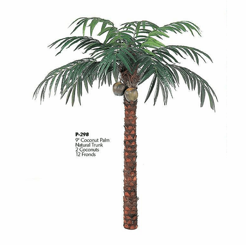 9' Artificial Coconut Large Palm Tree sold Non Potted with 12 Fronds and 2 Coconuts
