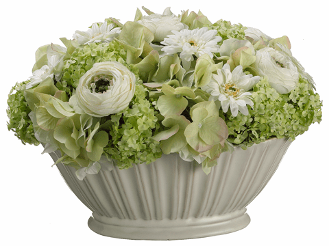 "9"" Artificial  Ranunculus, Daisy and Hydrangea Mixed Flower Arrangement  in Bowl"