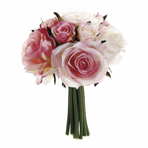 """9"""" Artificial Silk Confetti Rose Wedding Bouquets - Set of 6 (Shown in Pink)"""