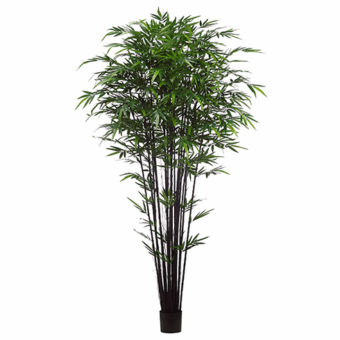 9' Artificial Tropical Black Bamboo Tree w/ 2752 Silk Leaves in Pot-Set of 2