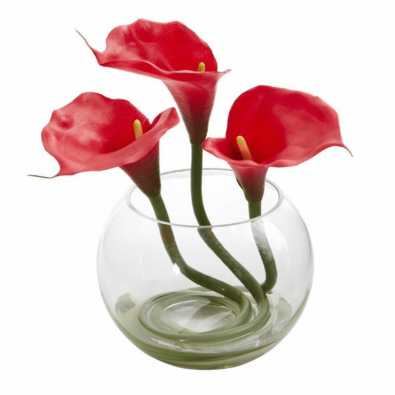 9�� Calla Lily Artificial Arrangement in Rounded Glass Vase - Red