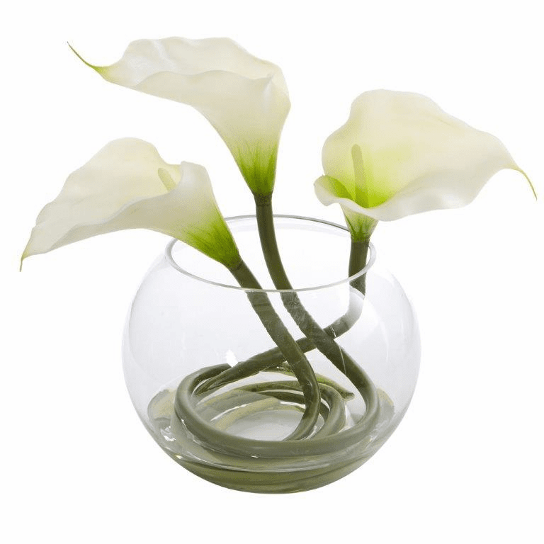 9�� Calla Lily Artificial Arrangement in Rounded Glass Vase - White