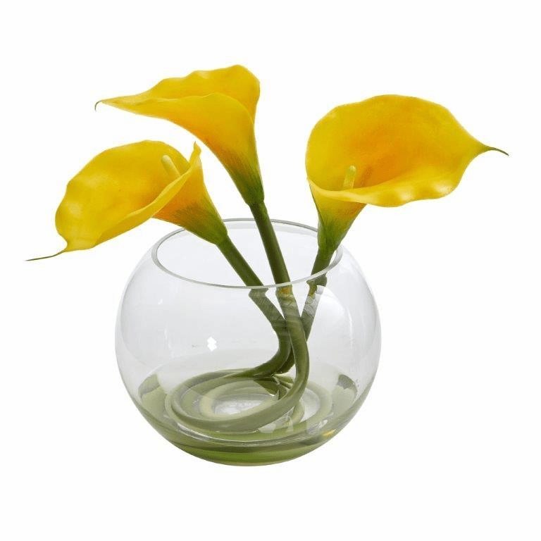 9�� Calla Lily Artificial Arrangement in Rounded Glass Vase - Yellow